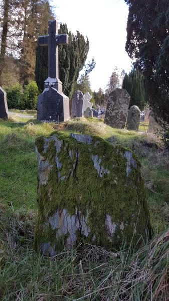 Glendalough mossy headstone